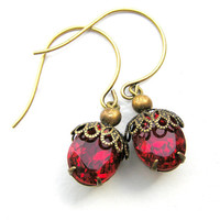 Red Vintage Inspired  Earrings, Ruby Red, Oval Drops