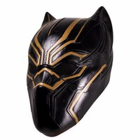 Adult Black Panther Movie Gold Erik Killmonger Mask Avengers Superhero Latex Helmet Halloween Cosplay Party Mask Costume