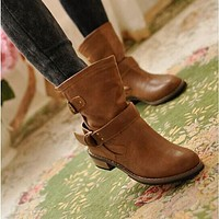 Pu Leather Women Boots Round Toe Buckle Ankle Boots Shoes Woman