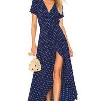 AUGUSTE Lily Wrap Maxi Dress Classic Polka Dot in Navy Blue