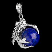1 Pcs Silver Plated Dragon Claw Wrap Ball Beads Charm Pendant Necklaces 3459