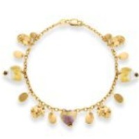 9ct Yellow Gold 3 White and Purple Murano Heart Tags 7.5 Inches Bracelet