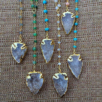 Gold-Edged Quartz Arrowhead Pendant Rosary Necklace: Labradorite, Turquoise, Moonstone, Chalcedony, Chyrsoprase, or Pink Opal Beaded Chain