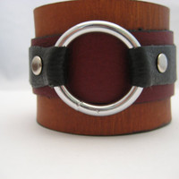Leather Bracelet Leather Cuff Real Leather O Ring Bracelet  Snap on Leather Jewelry O Ring Jewelry Mens Leather Bracelet Gift For Him