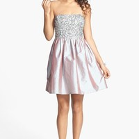 Adrianna Papell Embellished Bodice Strapless Taffeta Dress