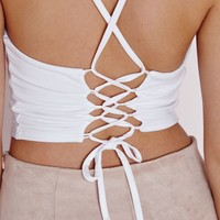 Missguided - Tie Back Bralet White