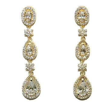 Trina Cascade Linear Gold Chandelier Earrings | 43mm