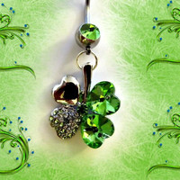 SALEBelly Ring Green Four Leaf Crystal Heart Clover by Aim4Beauty
