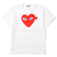 Cotton Jersey Print Blue Eyes Red Heart Red Emblem Tee White