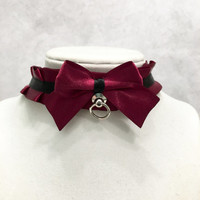 Burgundy and Black Kittenplay Petplay BDSM Collar-Kitten Day Collar- Pet/Kitten Gear-Collar Choker- DDLG Submissive Little Girl