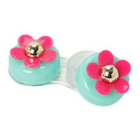 Pink & Mint Daisy Contact Lens Case