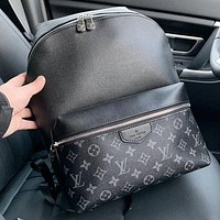 LV New fashion monogram print leather backpack bag book bag handbag Black