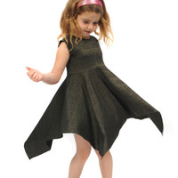 Black dress for girls with thin golden stripes special design twirly dress for amazing girls