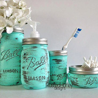 Mason Jar Soap Dispenser Bathroom Set