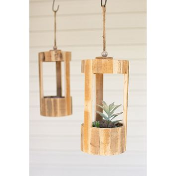 Set Of 4 Tall Hanging Recycled Wood Planters