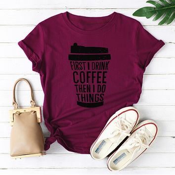 Coffee cup casual round neck cotton T-shirt
