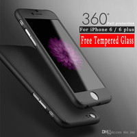 360 Full Cover Case For Samsung S8 S8Plus iPhone 7 6S Plus 6 Ultra Thin Body Cover Case PC +Tempered Glass Cases