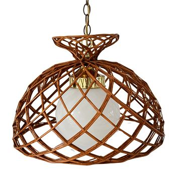 1960s Rattan Hanging Pendant Light Chandelier Gold Tone Trim Natural Decor Coastal Beach Decor