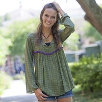 Green  With  Purple  Flower  Indie  Print  Tunic  From  Natural  Life