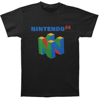 Nintendo Men's  N64 Logo T-shirt Black Rockabilia