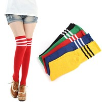 Feitong 1 Pair Thigh High Socks Over Knee Socking For Girls Womens 2018 New Fashion Sexy Striped Cheerleader Striped Long Socks