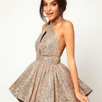 Glamorous Halter Homecoming Dress Short Cocktail Dress