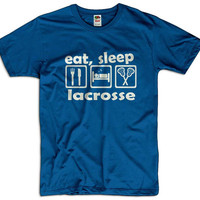 Eat, Sleep Lacrosse Men Women Ladies Funny Joke Gift for Him Sports Geek Clothes T shirt Tee Gift Present