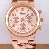 Chunky Chain Link Watch (Rose Gold)