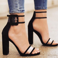 Women Pumps 2017 New Arrivals High Heels Sandals Shoes Woman Open Toe Anckle Strap Heels Sandals Zapatos Mujer Plus Size 34-43