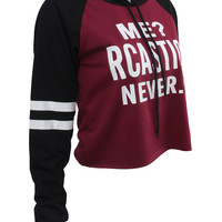 Red Letter Print Contrast Stripe Sleeve Cropped Hoodie