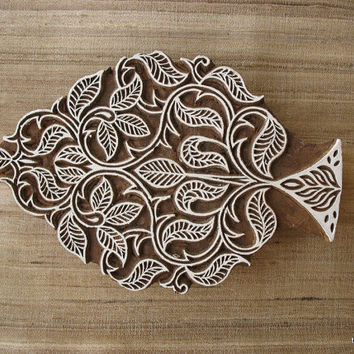Indian Wooden Stamp / Hand Carved Tree Printing Stamp