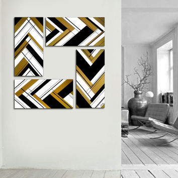 Original abstract painting. 39x39 4 piece canvas art. Large painting. Gold painting black and white. Unique. Black and gold. Square painting