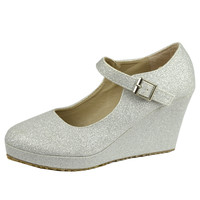 Womens Platform Shoes Glitter Accent Closed Toe Mary Jane Wedges Silver SZ