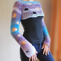 Knitted Cropped Sweater in Blue tones with Long Sleeves / Free Shipping / Sizes XS-XL / Free shipping