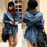Fashion Women Demin Trench Coat Hooded Jean Jacket Outwear Free Size (Color: Multicolor) = 1667798660