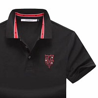 Givenchy 2019 new men's lapel polo shirt embroidery logo half-sleeved T-shirt Black