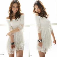 Sexy Women Off Shoulder Layer Lace Top Mini Dress #006