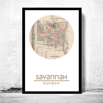 SAVANNAH GA - city poster - city map poster print