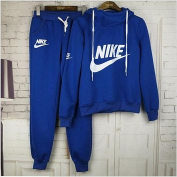 N Nike Casual Print Hoodie Top Sweater Pants Trousers Set Two-piece Sportswear