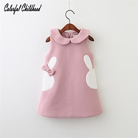 Baby Christmas Clothes cute bunny embroidery vest dress children dress winter toddler baby girls vestido 2-6Y Christmas Costume
