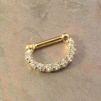 14 Gauge Gold and CZ Septum Ring Clicker Bull Ring Nose Piercing