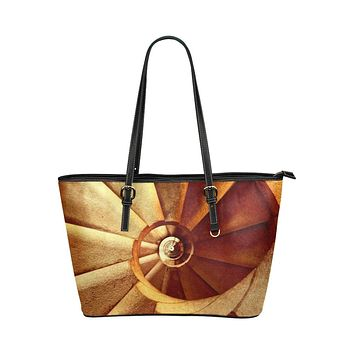 Swirl Staircase Style Beige and Brown Shoulder Tote Bag