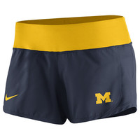 Nike Ladies Nike University of Michigan Ladies Navy Gear Up Crew Dri-FIT Shorts