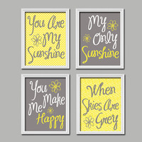 Cute Yellow Grey You Are My Sunshine Quote Crib Nursery Song Print Artwork Set of 4 Prints Wall Decor Art Picture