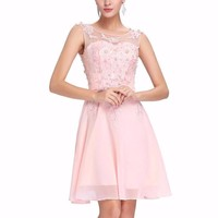 Grace Karin Short Prom Dress O Neck Sexy Chiffon Sleeveless Knee Length Junior School Prom Gown Special Occasion Dresses