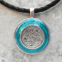 Pisces necklace: blue - mens necklace - mens jewelry - astrology - boyfriend gift - zodiac - birthday gift - leather necklace - unique gift