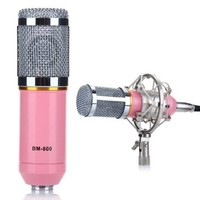 Excelvan® Condenser Sound Studio Recording Microphone Mic Ideal for Radio Broadcasting Studio, Voice-over Sound Studio and Recording (Pink)