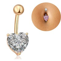 Tomtosh 2016 New Hot Silver Gold Navel Belly Button Ring Rhinestone Bar Heart Star Belly Piercing Body Jewelry Free shipping