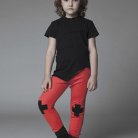Nununu Plus Patch Leggings in Red - NU0719