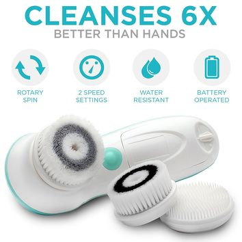 Waterproof Facial Cleansing Spin Brush Set with 3 Exfoliating Brush Heads - Complete Face Spa System by Fancii - Advanced Microdermabrasion for Gentle...